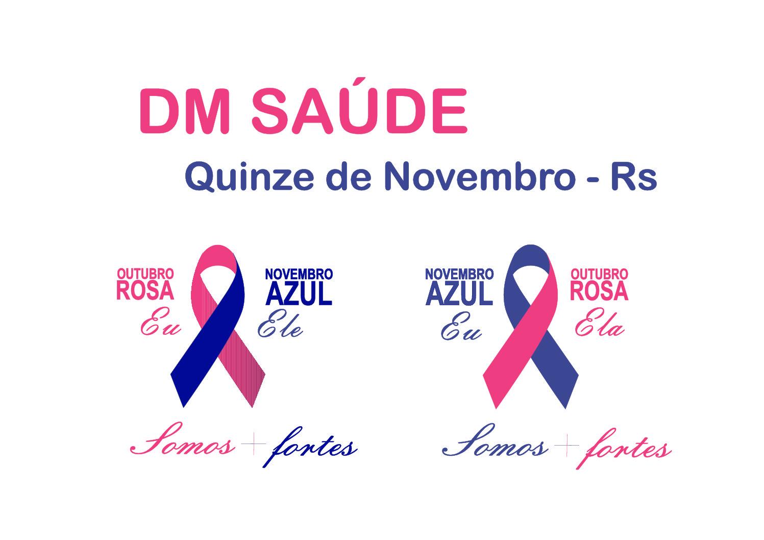 CAMISETAS PERSONALIZADAS PARA CAMPANHAS OUTUBRO ROSA E NOVEMBRO AZUL DA CIDADE DE QUINZE DE NOVEMBRO/RS.